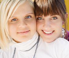 Free Two Smiling Girls Portrait Stock Photo - 6837680