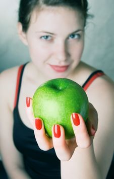 Free Girl With A Green Apple Stock Images - 6837754