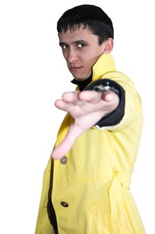 Free Young Handsome Man In A Yellow Raincoat Stock Photos - 6838713