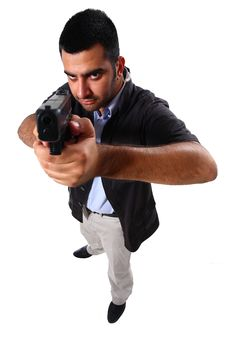 Free Man Pointing Gun Royalty Free Stock Image - 6839016