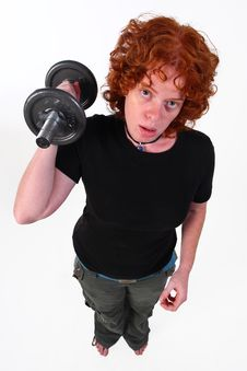 Free RedHead Woman Weight Lifting Royalty Free Stock Image - 6839196