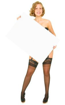 Free Happy Pin Up Girl Holding Blank Board Royalty Free Stock Images - 6839409