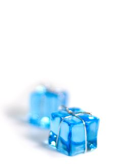 Free Two Blue Glass Cubes Royalty Free Stock Photos - 6839518