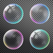 Set Colorful Bubble In Vector. Isolated Soap Water Bubbles Colle Stock Photo