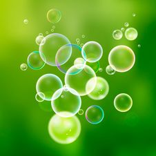 Set Colorful Water Bubbles In Vector. Isolated  Soap Bubbles Col Stock Photography