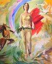 Free Slavic Woman Oil Paint Illustration Royalty Free Stock Photo - 68365575