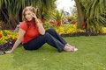 Free Girl In Red In Beautiful Gardens Stock Image - 6846151