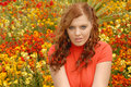 Free Girl In Red In Beautiful Gardens Stock Image - 6846281