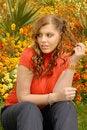 Free Girl In Red In Beautiful Gardens Stock Image - 6846301