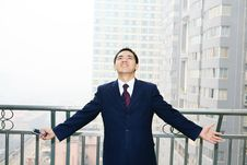 Free Man Stand Before Building Stock Photography - 6840692