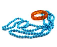 Free Amber Bracelet And Calaite Beads Royalty Free Stock Photography - 6841147