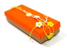 Free Orange Gift Box With Decoration Royalty Free Stock Photos - 6842498