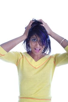 Free Crazy Girl With Crazy Hairstyle Stock Photography - 6843372