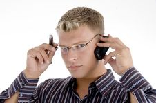 Free Serious Businessman Communicating On Cell Phone Royalty Free Stock Photo - 6845165