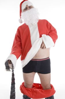 Free Santa Clause Holding His Coat And Belt Royalty Free Stock Photography - 6845667