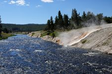 Free River And Hot Spring In Yellowstone Royalty Free Stock Photography - 6846477