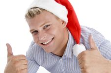 Happy Man With Christmas Hat Wishing Good Luck Stock Images