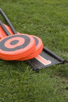 Football Lineman Set On Ground Stock Photography