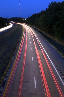 Streaking Car Lights On Interstate Stock Photo