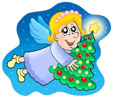 Free Angel Holding Christmas Tree Stock Photo - 6849980