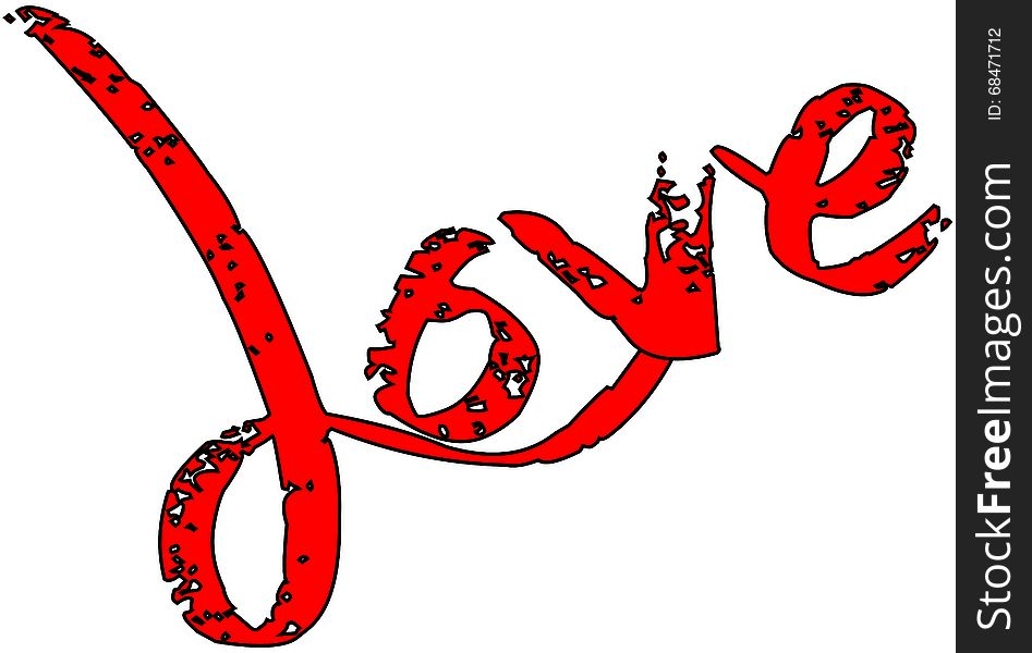 Love word in red