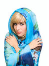 Free Blonde Girl In Blue Fabric Royalty Free Stock Image - 6859116