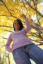 Free Pretty Teenage Girl And Bright Yellow Leaves Stock Photo - 6859320