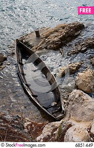 Sunken boat Stock Photo