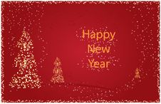 Free Happy New Year Card With Abstract Trees And Stars Royalty Free Stock Photo - 6850425