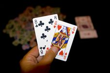 Free Two Cards In Hands Stock Photography - 6851912