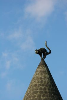 Rooftop With A Cat Figure Royalty Free Stock Image