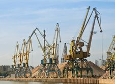 Port With Cargo Cranes Royalty Free Stock Photo