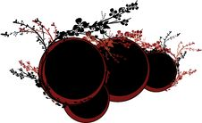 Red And Black Circles With Flowers Stock Image