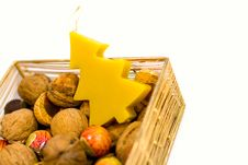 Free Walnuts, Sweets And Handmade Candle Stock Image - 6856131