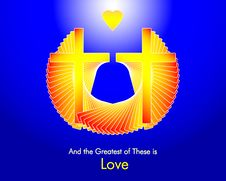 Free Love - Two Crosses And A Golden Heart Stock Images - 6857984
