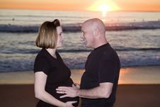 Free Pregnant Couple In Love On The Beach Stock Photos - 6858883