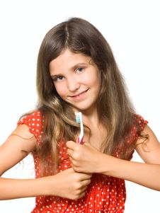 Free Beauty Teen Girl With Toothbrush Stock Photo - 6859010
