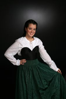 Free Pretty Teen In Green Wench Type Dress Stock Images - 6859344