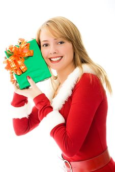 Free Happy Girl With A Christmas Present Royalty Free Stock Image - 6859906