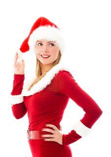 Free Beautiful Girl Dressed As Santa Royalty Free Stock Photography - 6859967