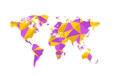 Free Violet And Yellow Triangulated World Map On White Royalty Free Stock Photography - 68569567