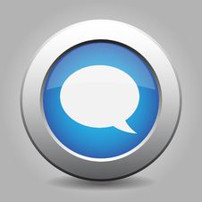 Blue Metal Button With Speech Bubble Stock Image