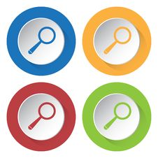 Set Of Four Icons - Magnifier Royalty Free Stock Images
