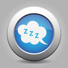 Free Blue Metal Button With ZZZ Speech Bubbles Stock Photography - 68587802