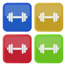 Set Of Four Square Icons With Dumbbell Royalty Free Stock Image