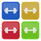 Free Set Of Four Square Icons With Dumbbell Royalty Free Stock Image - 68587826