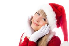 Pretty Girl Dressed As Santa Stock Photos