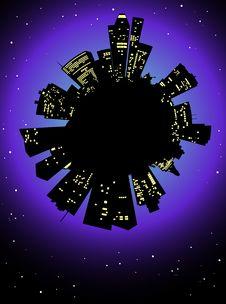 Night City And Night Sky Stock Photos