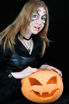 Free Halloween Bloody Vampire With Pumpkin Stock Photos - 6861153