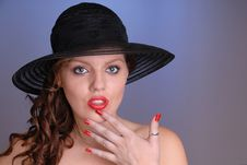 Free Attractive Young Lady In Black Hat Stock Photography - 6861292